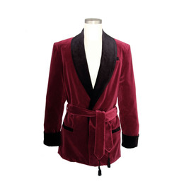 Men's Wine Velvet Smoking Jacket with Black Lining