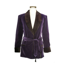 Women's Bilberry Purple Velvet Smoking Jacket with Purple Lining