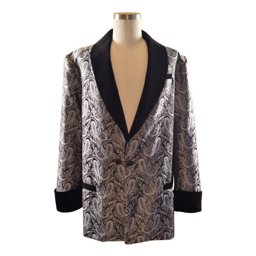 Men's Grey/Black Paisley Smoking Jacket