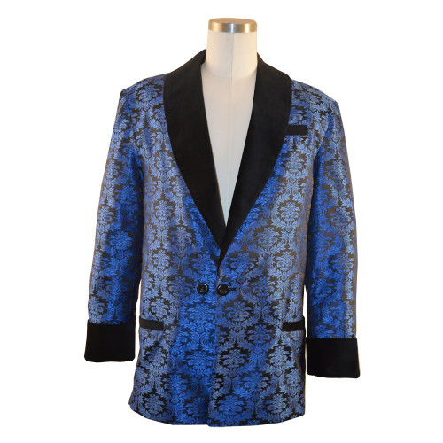 "Men's blue brocade smoking jacket with bemberg lining.  Black velvet cuff and collar.  Adjustable 3"" cuff to lengthen or shorten"