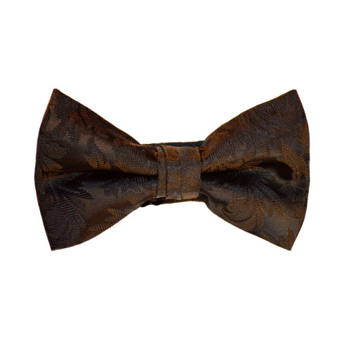 Brocade Leaf Print Bow Tie - Black