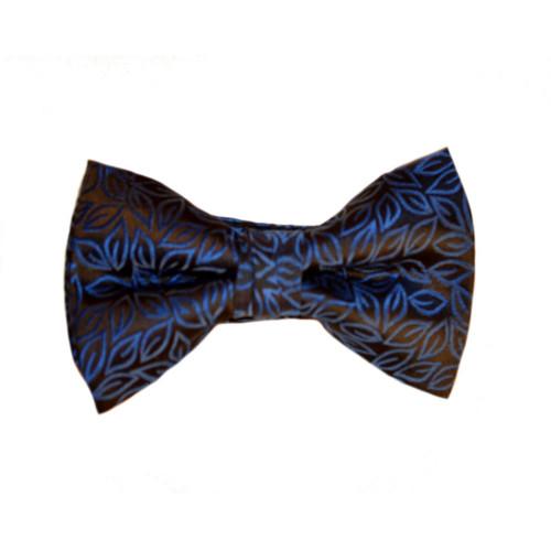 Brocade Leaf Print Bow Tie - Blue