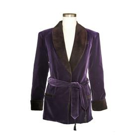 Men's Bilberry Purple Velvet Smoking Jacket with Black Lining