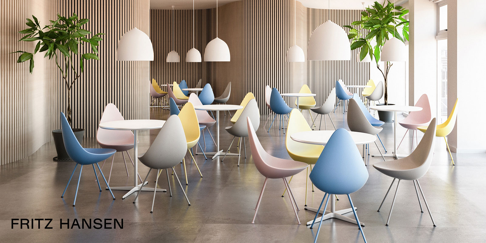 Fritz Hansen Drop Chairs & Suspence Pendant Lights