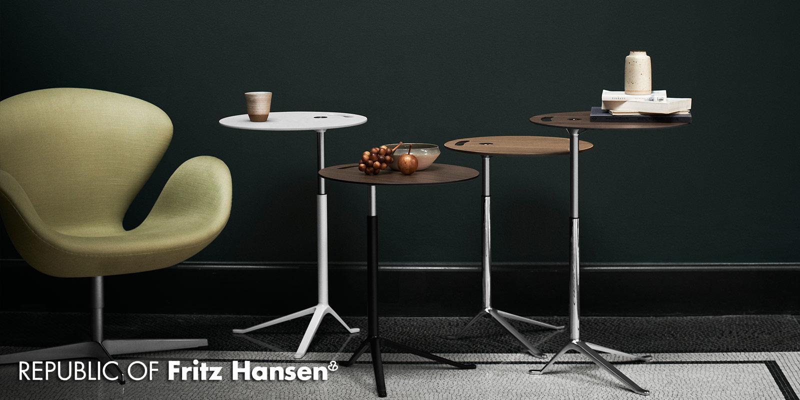 Fritz Hansen Little Friend Tables & Swan Chair