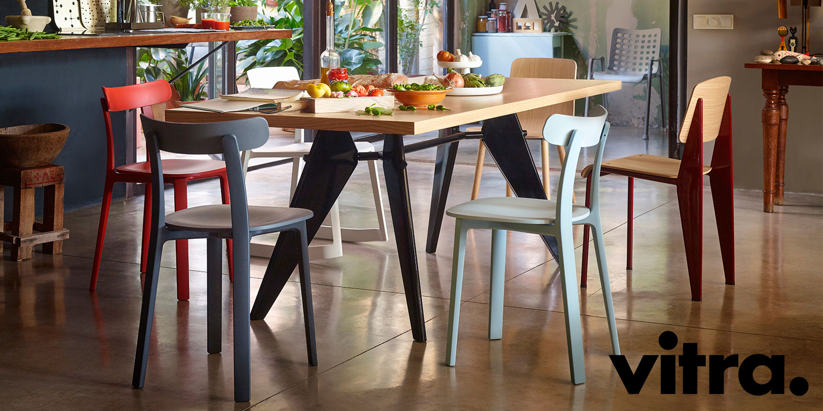 Vitra Prouve Dining Table & Prouve Standard Chair & All Plastic Chair