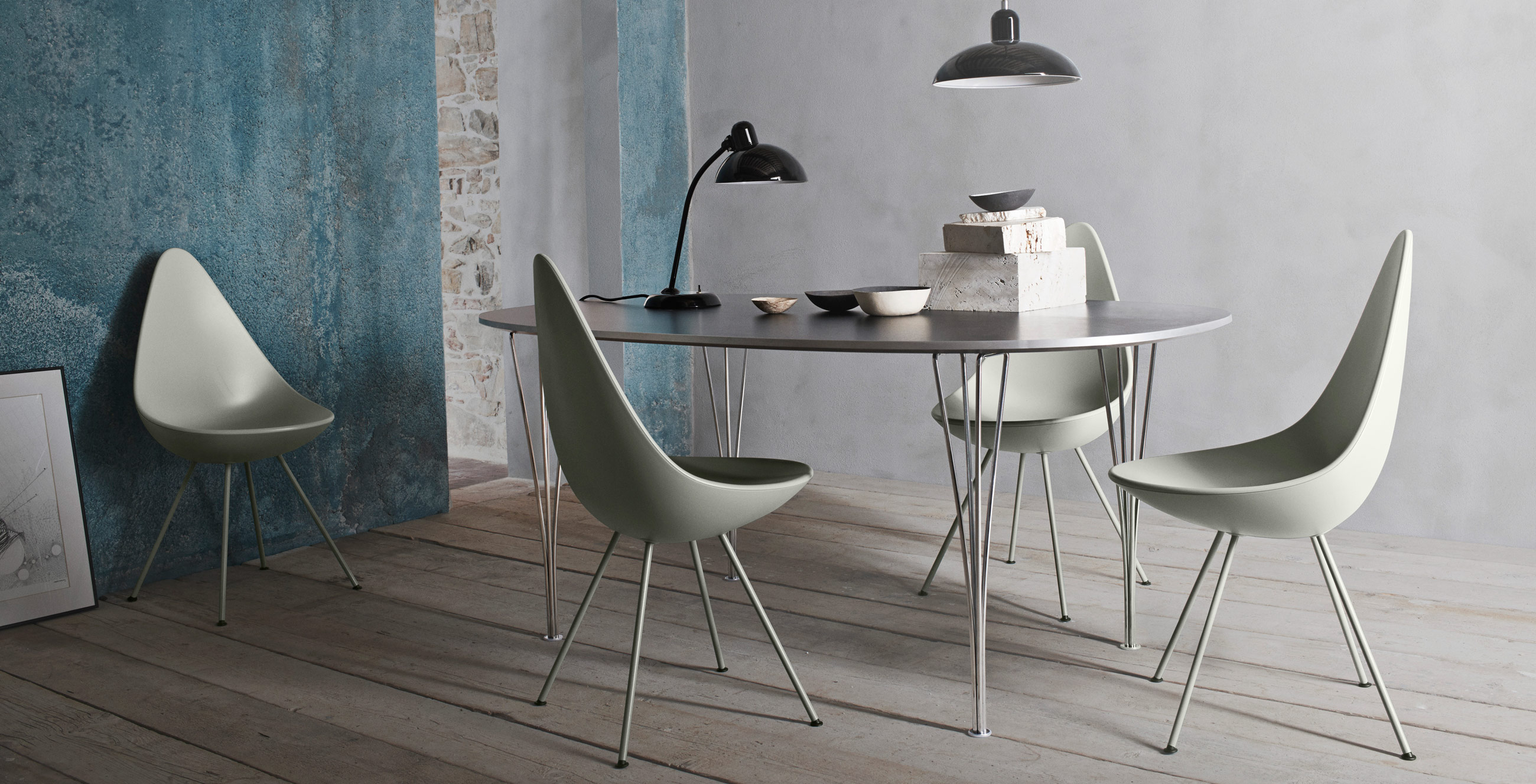 Fritz Hansen Super Elliptical Table Grey Laminate & Chrome Base with Drop Chairs
