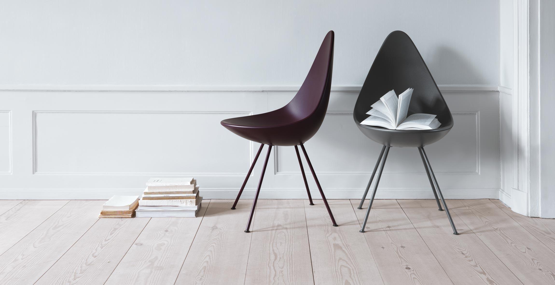 Fritz Hansen Drop Chairs Burgundy & Shadow Grey