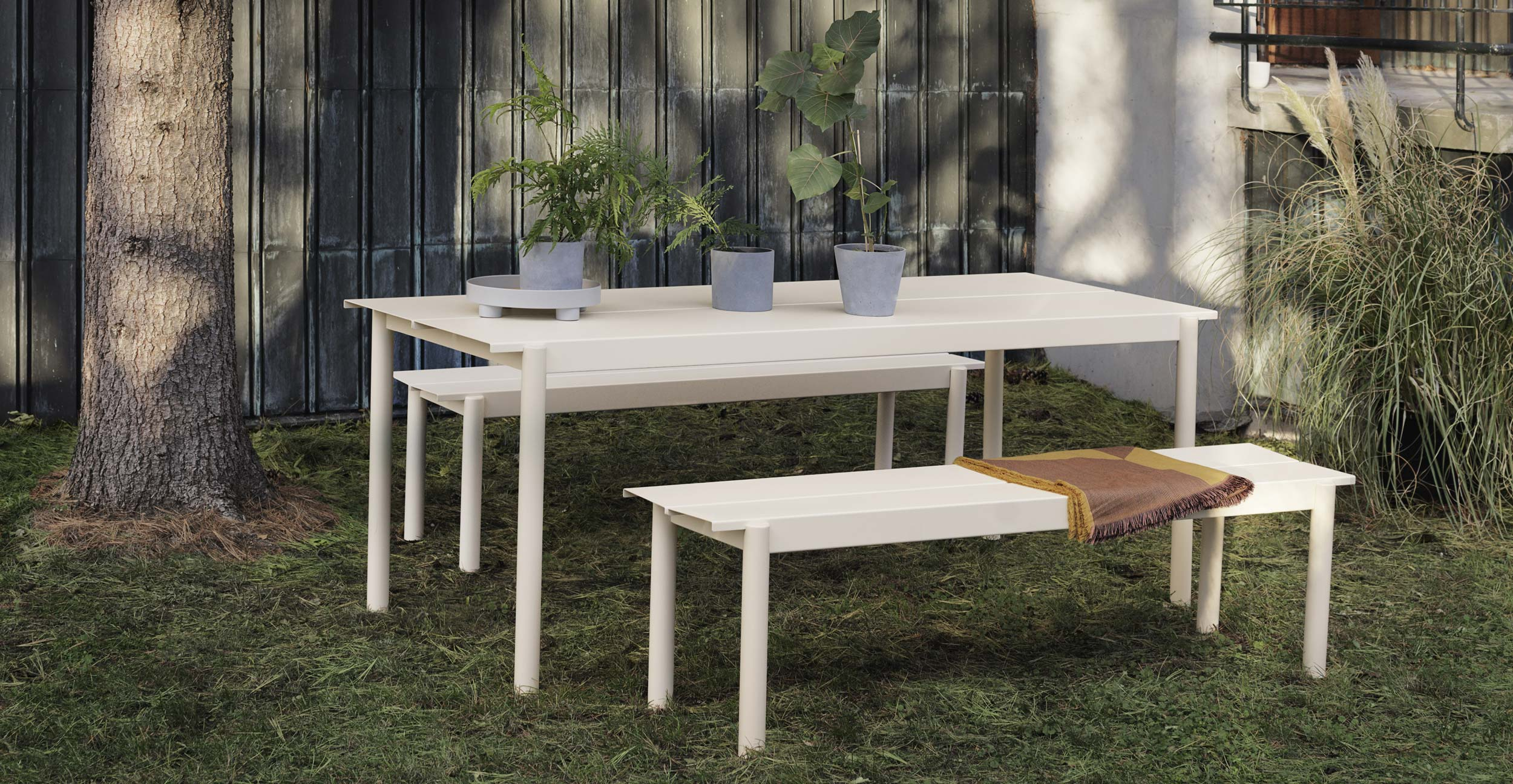 Muuto Linear Steel Table and Benches White Outdoor