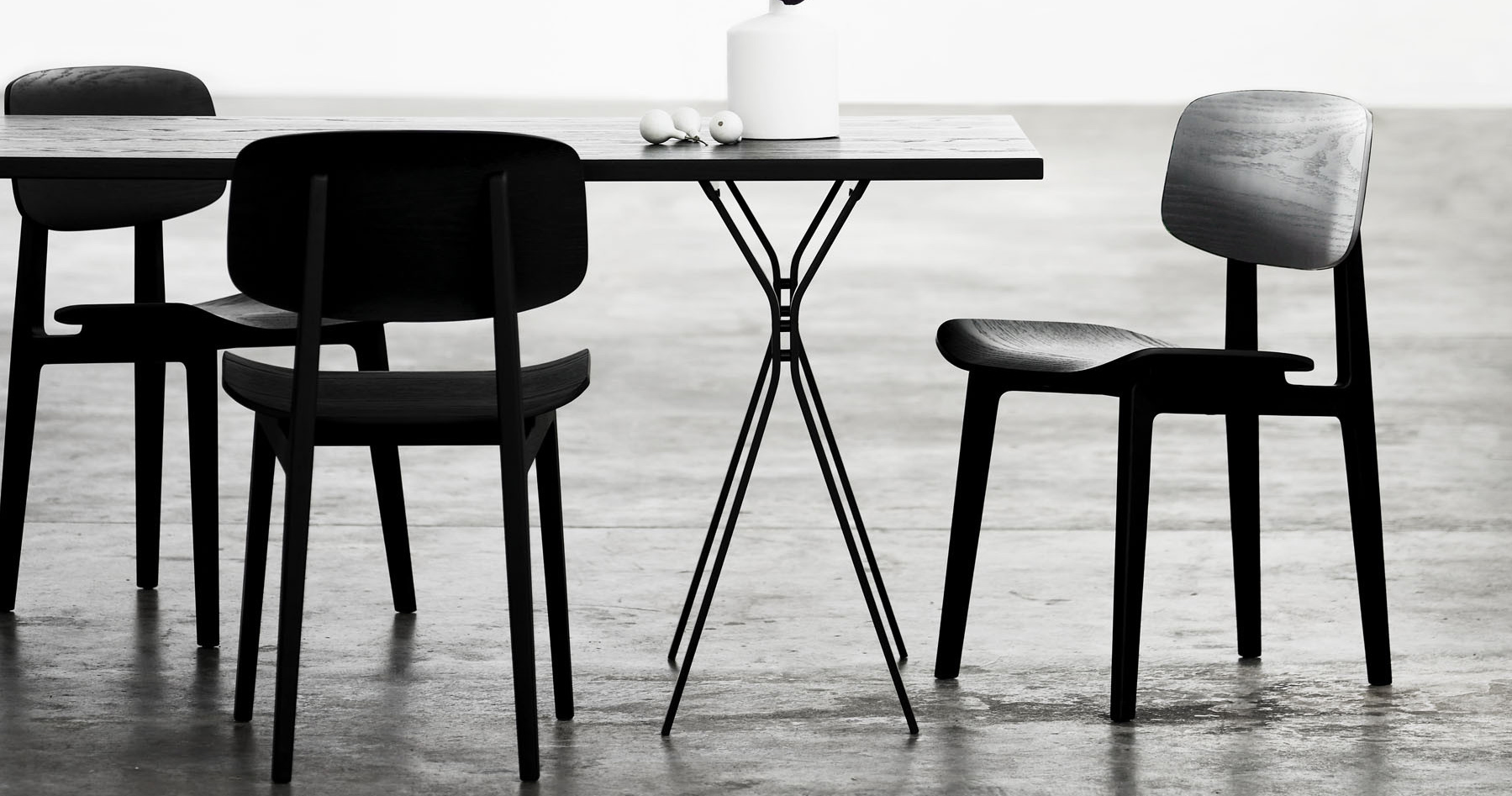 Norr11 NY11 Dining Chair Un-Upholstered Black Oak Mood Shot