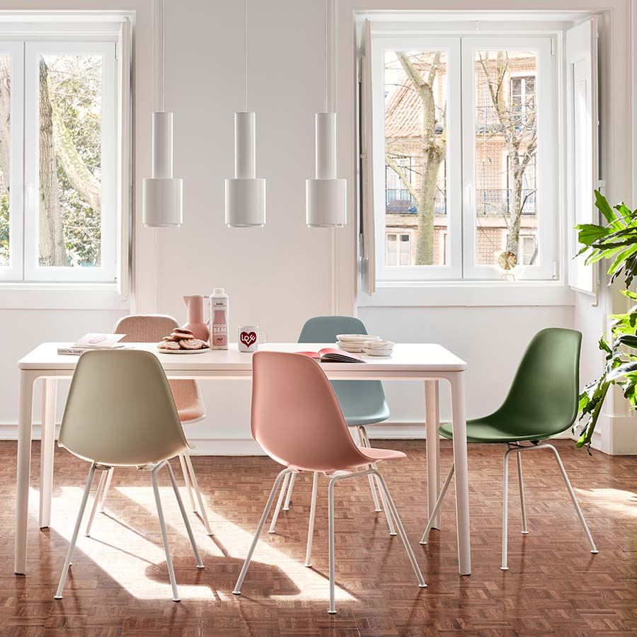 Papillon Interiors Black Friday 2020 Dining Chairs - Vitra Eames DSX Chairs & Plate Dining Table