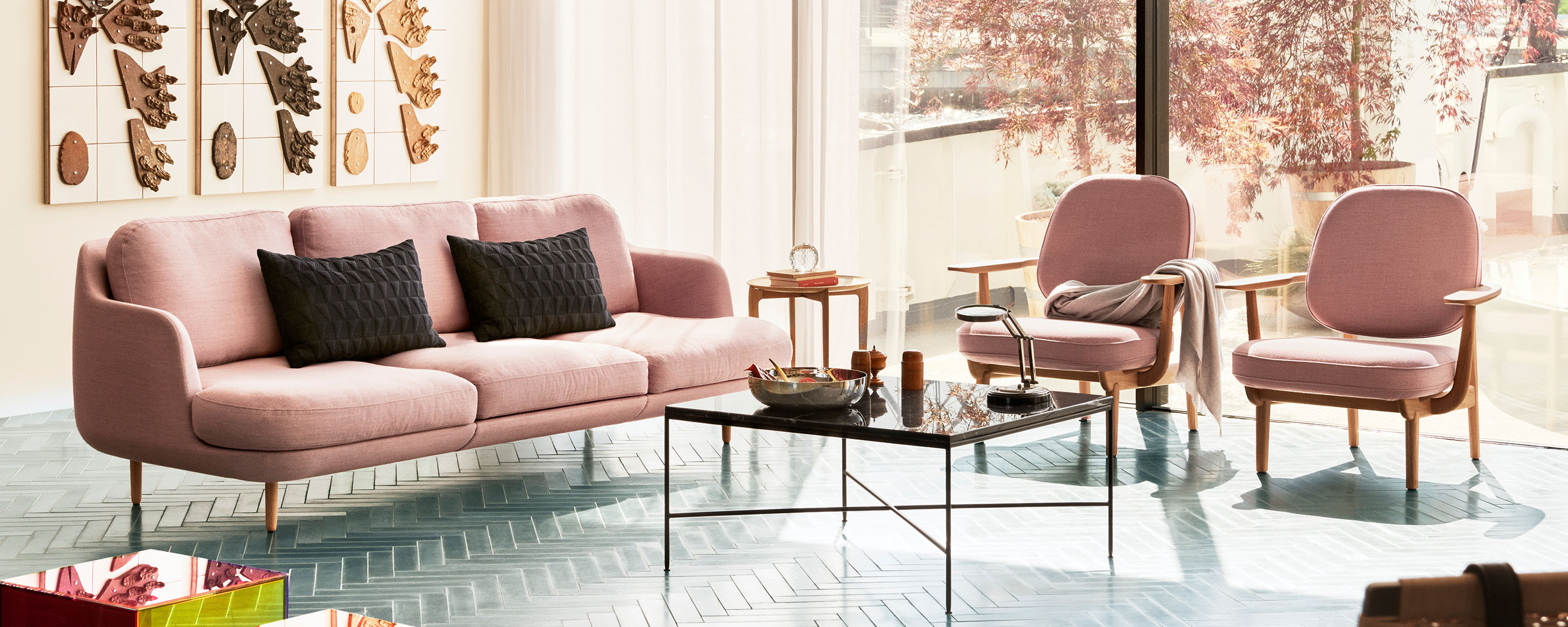 Papillon Interiors Winter Sale 2020 Promotion - Fritz Hansen Lune Sofa and Fred Lounge Chairs