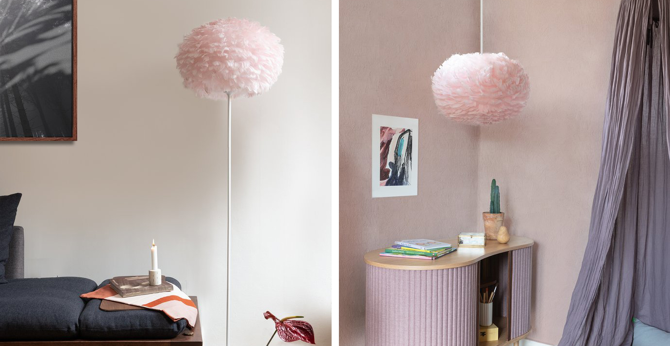 Umage Eos Light Rose (Pink) Feather Shade Lifestyle