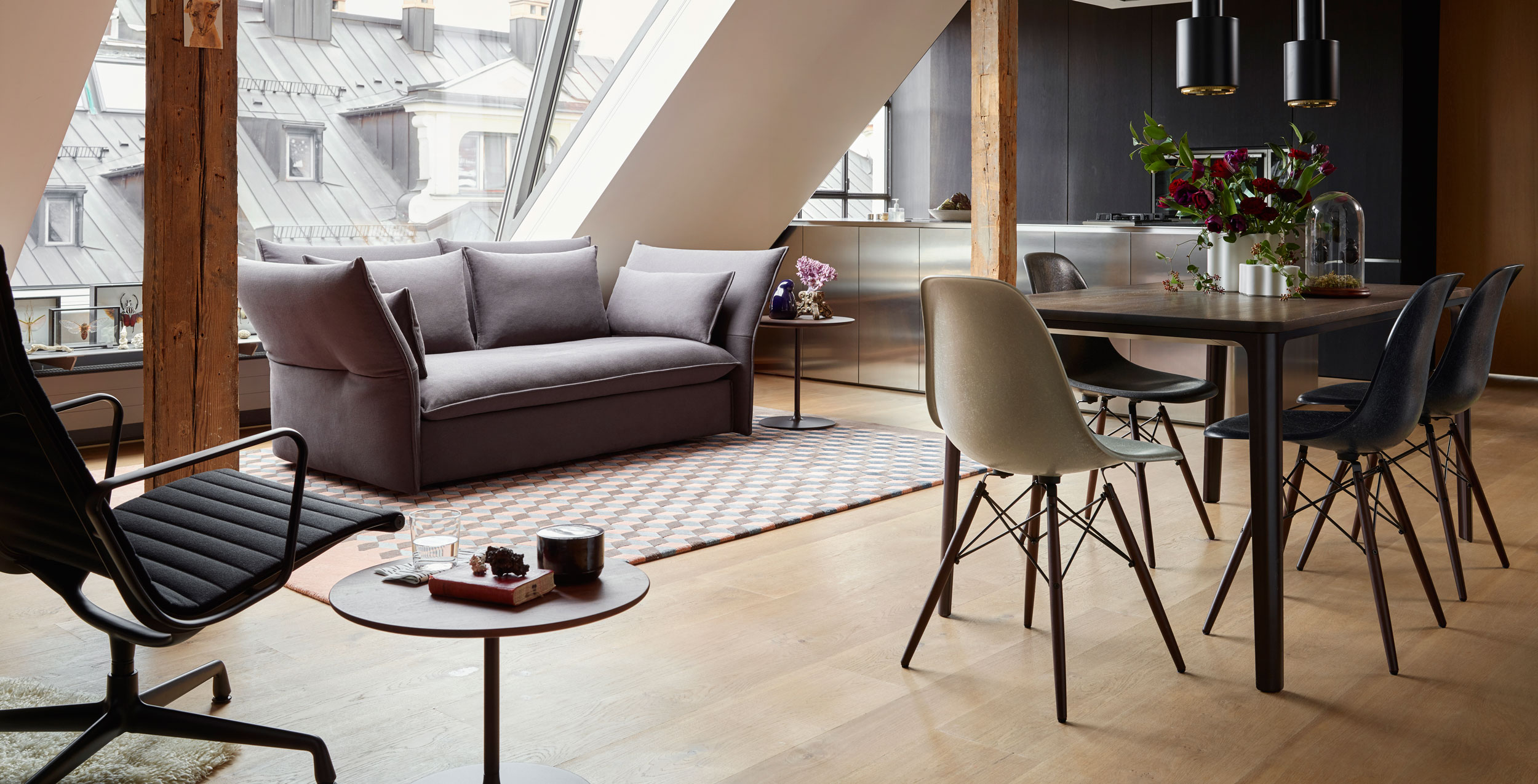 Vitra Eames Fiberglass DSW Chairs with Plate Dining Table Mariposa Sofa and Aluminium Chair EA116
