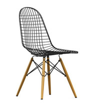 Vitra Eames Wire Chair DKW - Golden Maple Base - Rear Angle View