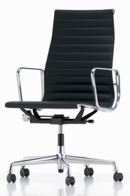 Vitra Eames Aluminium Chair EA 119 - Black Leather - Chromed - Front Angle View