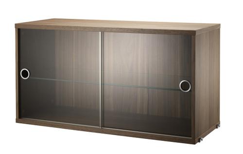 String System Glass Display Cabinet - Walnut