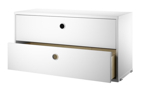 String 'System' Chest Of Drawers W78cm White Open