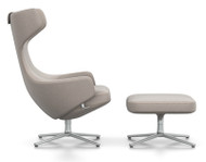 CLEARANCE Vitra Grand Repos Lounge Chair & Ottoman Cosy Fossil Fabric Polished Aluminium Base Felt Glides For Hard Floor