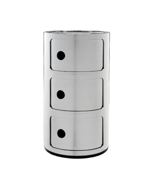 Kartell Componibili Storage Unit Metallic - 3 High Chrome