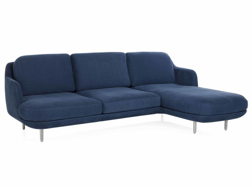 Fritz Hansen 3 Seater Lune Sofa With Right Chaise Longue, Linara 2494/30 Indigo Fabric