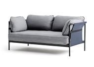 HAY Can 2 Seater Sofa, Blue Canvas, Black Strap, Light Grey Fabric, Black Frame