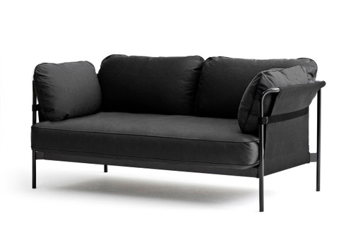 HAY Can 2 Seater Sofa, Black Canvas, Black Strap, Black Fabric, Black Frame