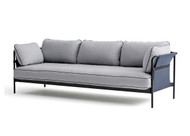 HAY Can 3 Seater Sofa, Blue Canvas, Black Strap, Light Grey Fabric, Black Frame