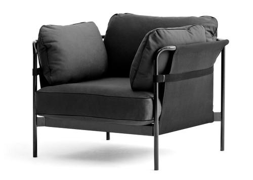 HAY Can Armchair, Black Canvas, Black Strap, Black Fabric, Black Frame