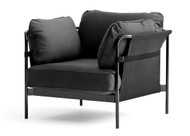 HAY Can Armchair, Black Canvas, Black Strap, Black Fabric, Black Frame