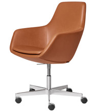 Fritz Hansen Little Giraffe Office Chair Walnut Leather Chrome Base