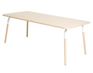 Petite Friture Dojo Table Solid Beech With White, Angled