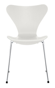 Fritz Hansen Series 7 Chair - White Coloured Ash / Chromed
