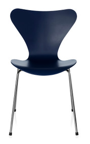 Fritz Hansen Series 7 Chair - Lacquered AI Blue Chromed Base