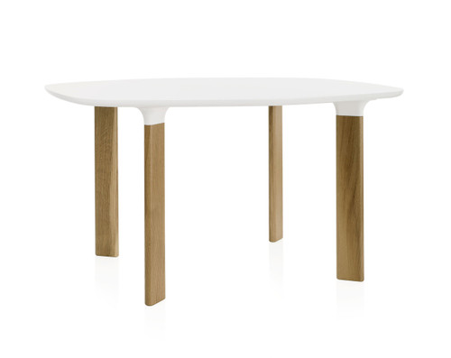 Fritz Hansen Analog Dining Table JH43 - White Laminate Top with Oak Legs and White Trumpets