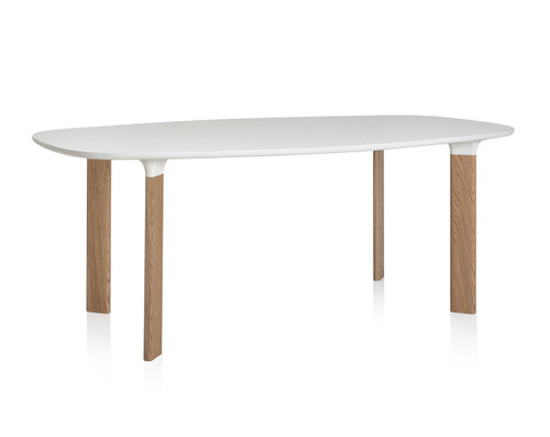 Fritz Hansen Analog Dining Table JH63 - White Laminate Top with Oak Legs and White Trumpets
