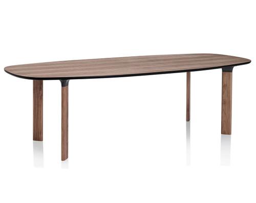 Fritz Hansen Analog Dining Table JH83 - Walnut Veneer Top with walnut Legs and Black Trumpets