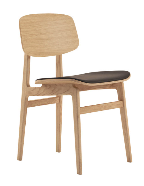 Norr11 NY11 Dining Chair Natural Oak - Vintage Leather Dark Brown