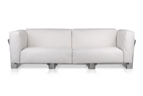 Kartell Pop Duo 3 Seater Sofa - White/Transparent