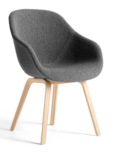 HAY About A Chair AAC 123 - Flamiber Charcoal Fabric - Matt Lacquered Oak Base