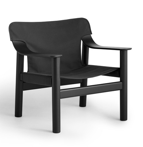 HAY Bernard Lounge Chair - Deep Black Painted Solid Oak Frame - Black Canvas