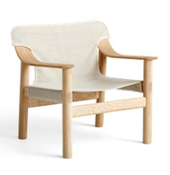 HAY Bernard Lounge Chair - Matt Lacquered Solid Oak Frame - Raw Canvas