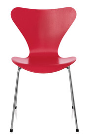 CLEARANCE Fritz Hansen Series 7 Chair - Opium Red / Chromed