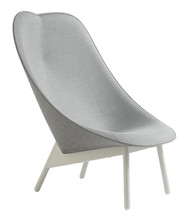 HAY Uchiwa Lounge Chair - Kvadrat Remix 143 Front (FG1) & Kvadrat Remix Back (FG1) - Grey Stained Oak Legs