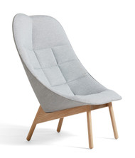 HAY Uchiwa Quilt Lounge Chair - Mode 002 Front (FG1) Kvadrat Remix 123 Back (FG1)  - Matt Lacquered Oak Legs