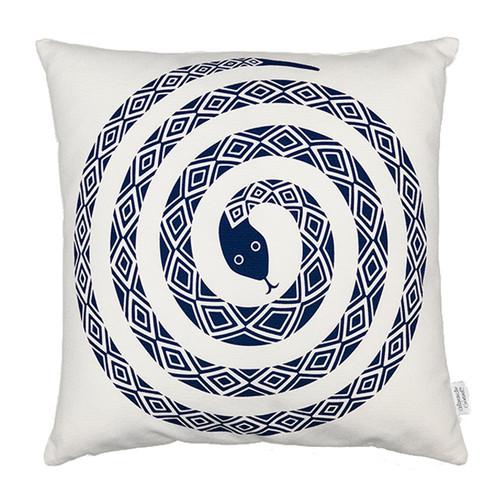 Vitra Graphic Print Pillow - Snake, Ultramarine
