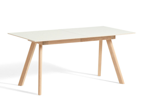 HAY CPH 30 Extendable Table 1600 x 800mm - Off White Linoleum - Matt Lacquered Oak