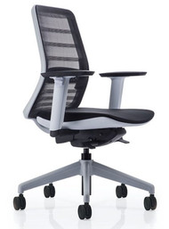 QUICK SHIP Koplus Tonique Task Chair - White - Front Angle