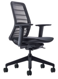 QUICK SHIP Koplus Tonique Task Chair - Black - Front Angle