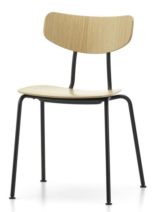 Vitra Moca Chair Natural Oak / Powder-Coated Base - Front Angle View